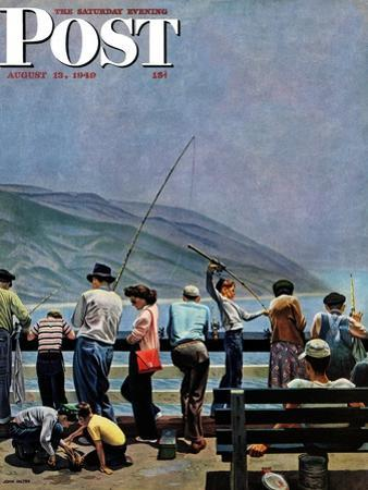 """Pier Fishing,"" Saturday Evening Post Cover, August 13, 1949 by John Falter"