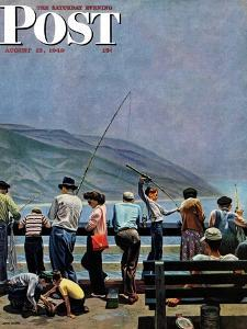 """""""Pier Fishing,"""" Saturday Evening Post Cover, August 13, 1949 by John Falter"""