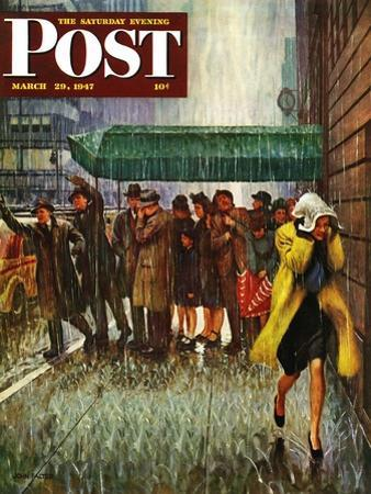 """Rainy Wait for a Cab,"" Saturday Evening Post Cover, March 29, 1947 by John Falter"