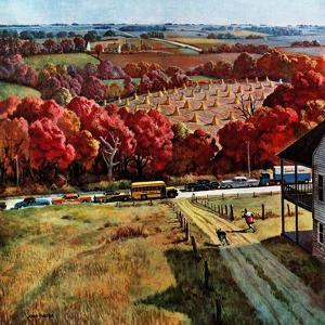 """Running to Meet the Bus"", October 12, 1957 by John Falter"