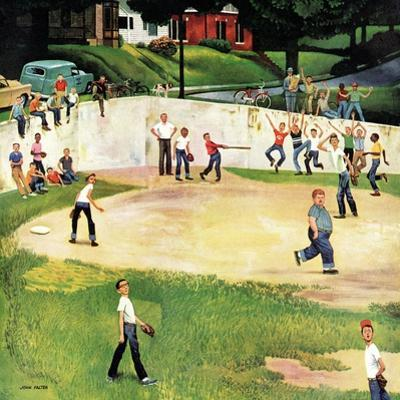 """Sandlot Homerun"", July 6, 1957 by John Falter"