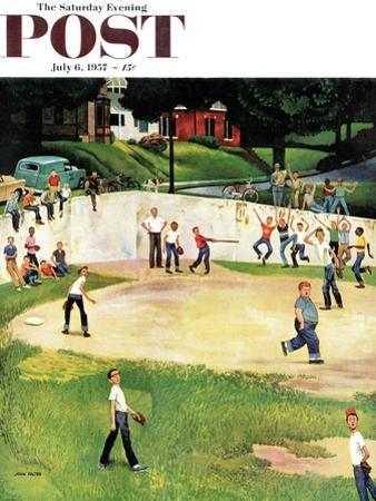 """Sandlot Homerun"" Saturday Evening Post Cover, July 6, 1957 by John Falter"