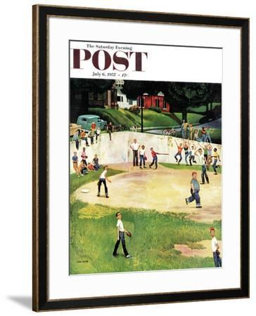 """Sandlot Homerun"" Saturday Evening Post Cover, July 6, 1957 by John Falter"