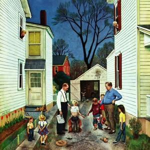 """""""Shaking Hands after the Fight"""", May 5, 1951 by John Falter"""