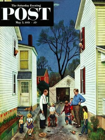 """""""Shaking Hands after the Fight"""" Saturday Evening Post Cover, May 5, 1951 by John Falter"""