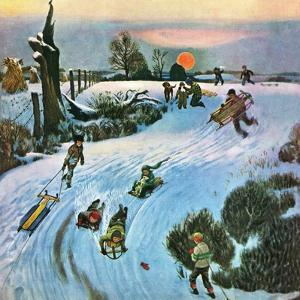 """Sledding by Sunset,"" December 18, 1948 by John Falter"