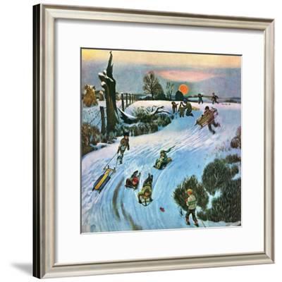 """""""Sledding by Sunset,"""" December 18, 1948"""
