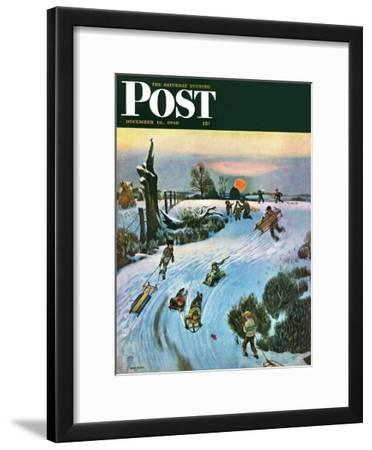 """Sledding by Sunset,"" Saturday Evening Post Cover, December 18, 1948"