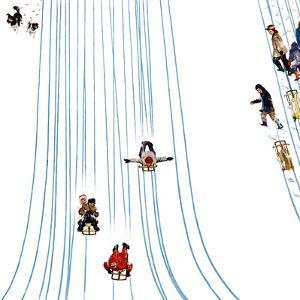 """""""Sledding Designs in the Snow,"""" February 3, 1962 by John Falter"""