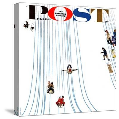 """Sledding Designs in the Snow,"" Saturday Evening Post Cover, February 3, 1962"