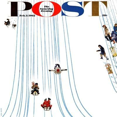 """Sledding Designs in the Snow,"" Saturday Evening Post Cover, February 3, 1962 by John Falter"