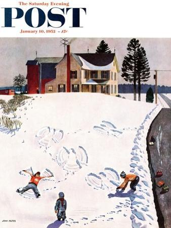 """""""Snow Angels"""" Saturday Evening Post Cover, January 10, 1953 by John Falter"""