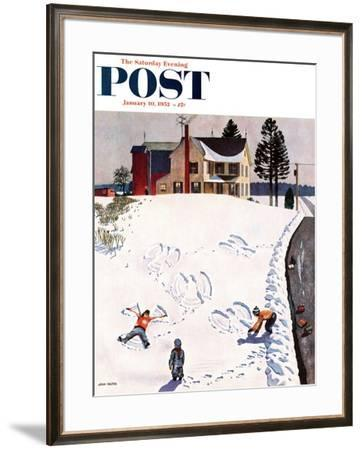 """Snow Angels"" Saturday Evening Post Cover, January 10, 1953 by John Falter"