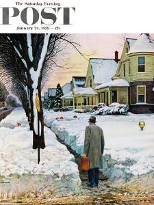 """Snowy Ambush"" Saturday Evening Post Cover, January 24, 1959 by John Falter"