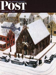 """Snowy Morning at Church"" Saturday Evening Post Cover, January 6, 1951 by John Falter"