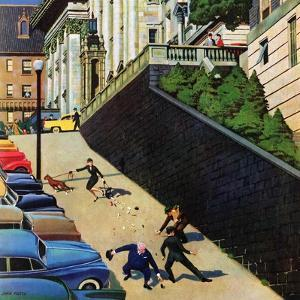 """""""Spilled Purse on Steep Hill"""", March 26, 1955 by John Falter"""