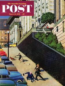 """""""Spilled Purse on Steep Hill"""" Saturday Evening Post Cover, March 26, 1955 by John Falter"""