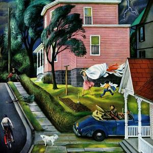 """Spring Storm Blowing In"", April 26, 1952 by John Falter"