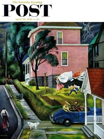 """""""Spring Storm Blowing In"""" Saturday Evening Post Cover, April 26, 1952 by John Falter"""