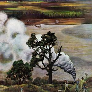 """Steam Engine Along the Missouri,"" June 22, 1946 by John Falter"