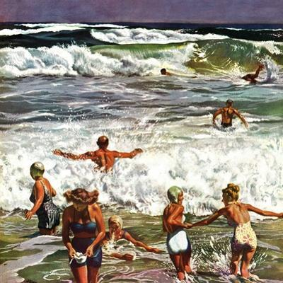 """Surf Swimming,"" August 14, 1948 by John Falter"