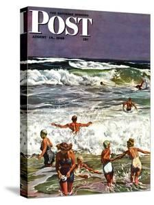 """""""Surf Swimming,"""" Saturday Evening Post Cover, August 14, 1948 by John Falter"""