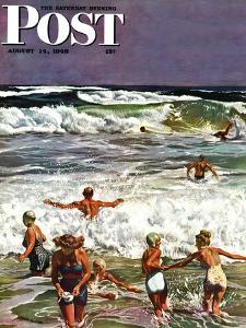 """Surf Swimming,"" Saturday Evening Post Cover, August 14, 1948 by John Falter"
