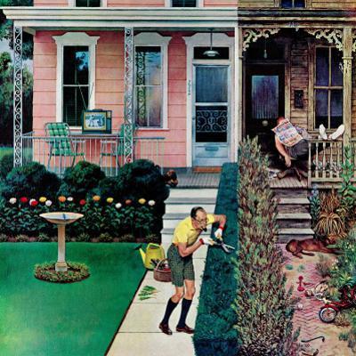 """""""Tidy and Sloppy Neighbors,"""" July 1, 1961 by John Falter"""