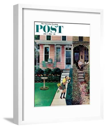 """""""Tidy and Sloppy Neighbors,"""" Saturday Evening Post Cover, July 1, 1961"""