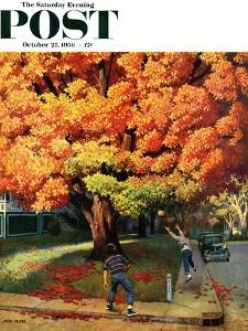 """""""Tossing the Football"""" Saturday Evening Post Cover, October 27, 1956 by John Falter"""