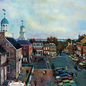 """Town Square, New Castle Delaware,"" March 17, 1962 by John Falter"