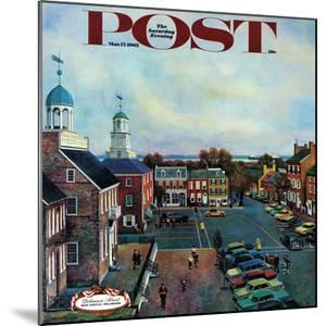 """""""Town Square, New Castle Delaware,"""" Saturday Evening Post Cover, March 17, 1962 by John Falter"""