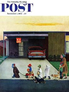 """""""Trick-Or-Treating in the Burbs"""" Saturday Evening Post Cover, November 1, 1958 by John Falter"""