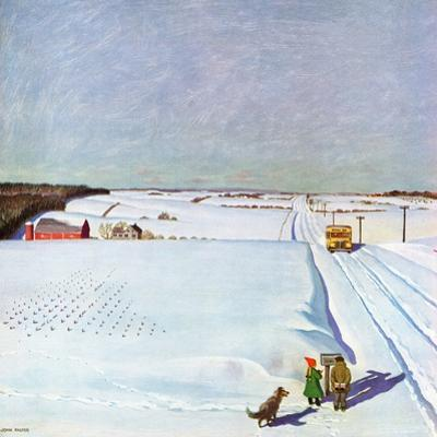 """Waiting for School Bus in Snow,"" February 1, 1947 by John Falter"