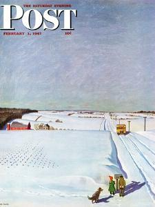 """""""Waiting for School Bus in Snow,"""" Saturday Evening Post Cover, February 1, 1947 by John Falter"""