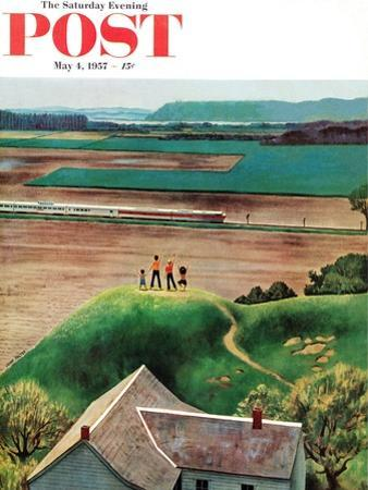 """""""Waving to Train in the Distance"""" Saturday Evening Post Cover, May 4, 1957 by John Falter"""