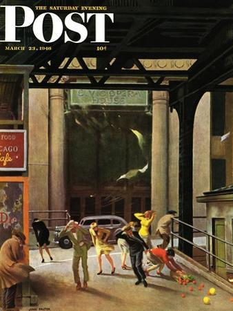 """""""Windy City,"""" Saturday Evening Post Cover, March 23, 1946 by John Falter"""