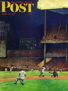"""Yankee Stadium,"" Saturday Evening Post Cover, April 19, 1947 by John Falter"