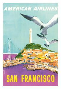 San Francisco, California - American Airlines - Coit Tower by John Fernie
