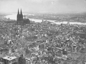 Aerial View of Cologne Showing Devastation of Allied Air Raids, Cathedral and Rhine River by John Florea