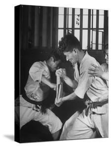 Japanese Karate Student Breaking Boards with Punch by John Florea