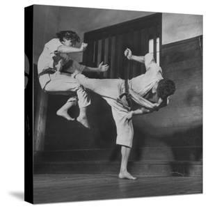 Law Student Gojuro Harada Uses Right Foot on the stomach to ward off attack of economics student by John Florea
