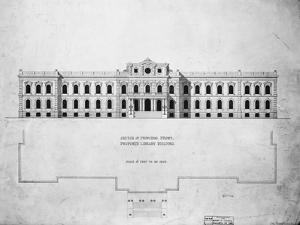 Sketch of Principal Front, Proposed Library Building by John Fraser