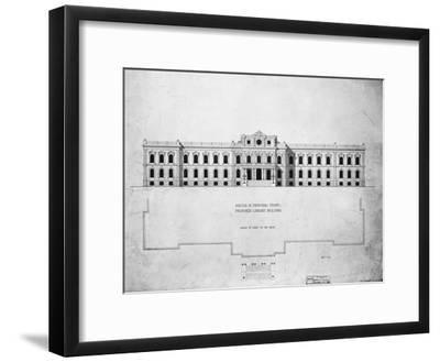 Sketch of Principal Front, Proposed Library Building