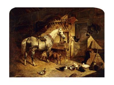 The Interior of a Stable with a Dapple Grey Horse, Ducks, Goats, and a Cockerel by a Manger by John Frederick Herring I