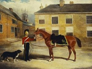 An Officer of the 6th Dragoon Guards, Caribineers with His Mount in the Barrack's Stable Yard by John Frederick Herring II
