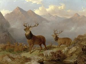Stags and Hinds in a Highland Landscape, 1864 by John Frederick Herring II