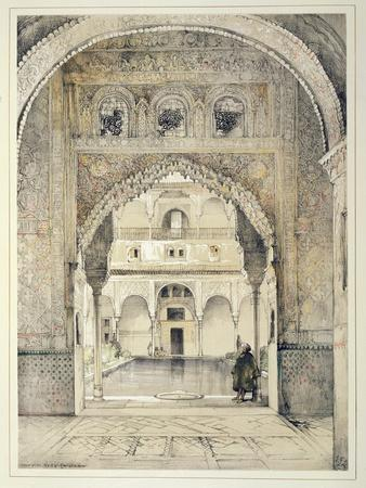 Door of the Hall of Ambassadors, from 'Sketches and Drawings of the Alhambra', engraved by William