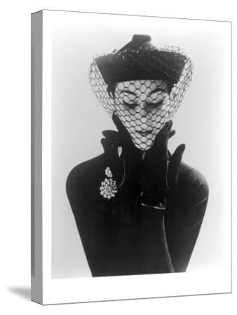 Anne Gunning in an Erik felt and Velvet Mandarin Hat with Veil, 1950
