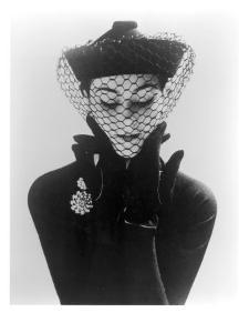 Anne Gunning in an Erik felt and Velvet Mandarin Hat with Veil, 1950 by John French